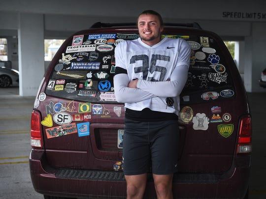 Nevada punter Quinton Conaway poses for a portrait