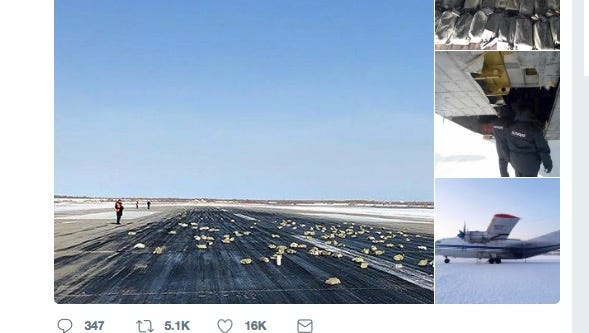 A fortune worth of gold and other precious metals rained down from the heavens on Thursday, after a plane's hatch opened as it took off inRussia, according to local outlets.