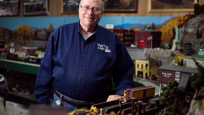 Jeff Olin, 57, owner of Village Train and Hobby in Windsor.