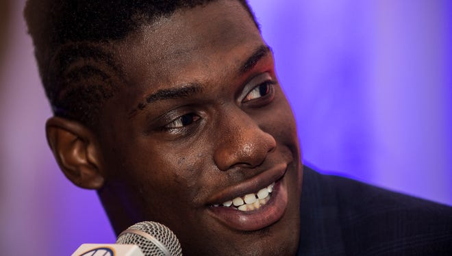 Auburn defensive lineman Carl Lawson speaks to the media during Day 1 of SEC Media Days on Monday, Jul. 11, 2016 at the Wynfrey Hotel in Hoover, Ala.