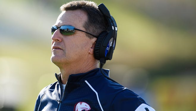 Head coach Joey Jones of the South Alabama Jaguars watches the replay board as his team takes on the Georgia Southern Eagles of the South Alabama Jaguars during the third quarter on Nov. 28, 2015. Jones resigned on Monday.