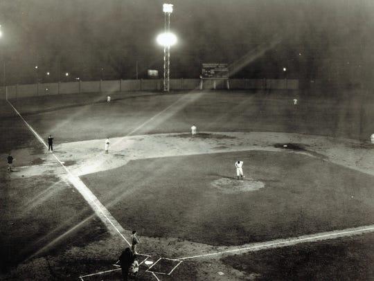 The Evanville Hubs played the first nighttime baseball