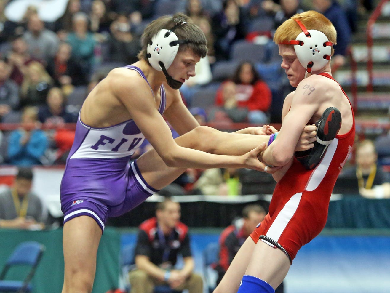 A.J. Burkhart of Waverly defeated Drew Shafer of Pal-Mac in overtime in a 99 pound semifinal match at the New York State High School wrestling championships at the Times Union Center in Albany Feb. 28, 2015.