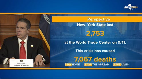Gov. Andrew Cuomo shows this slide on Thursday on how the number of deaths from coronavirus compared to those who died on 9/11.