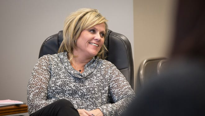 Superintendent Jennifer McCormick talks with board members and department heads of the Yorktown Community School district about finding her replacement when she takes over as Superintendent of Public Instruction for the state.