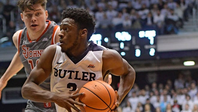 Jan 27, 2018; Indianapolis, IN, USA; Butler Bulldogs guard  Aaron Thompson (2) goes to the basket against St. Johns Red Storm forward Amar Alibegovic (10) in the first half  at Hinkle Fieldhouse. Mandatory Credit: Thomas -USA TODAY Sports
