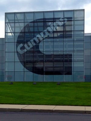 The main entrance to Cummins' engine plant in Columbus, Ind., in August 2013.