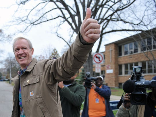 Bruce Rauner, who would go to win the race for governor,