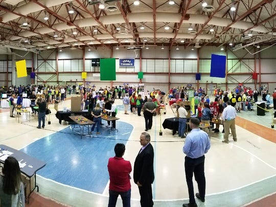 Hundreds of students attend the THINK Manufacturing Showcase at Terra State Community College on Friday.