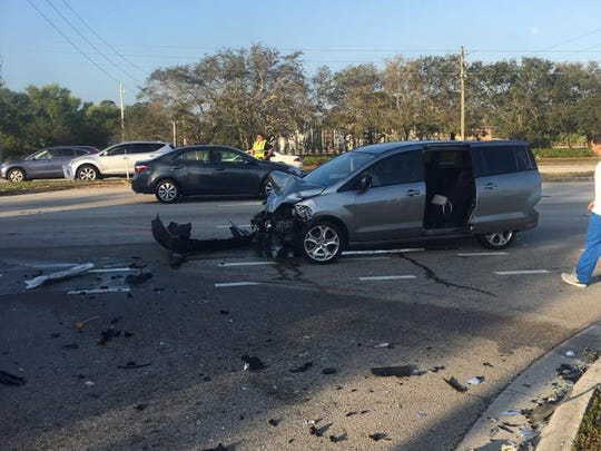 A two-vehicle crash occurred Monday morning in front of the Walgreens at U.S. 1 and Veterans Memorial Parkway in Port St. Lucie.