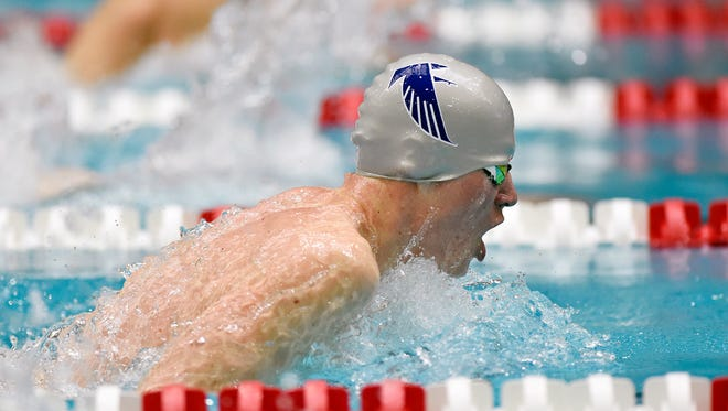 Cedar Crest's Eli Gryboski captured the boys' 100-yard breaststroke title at the PIAA District 3 AAA boys' swimming championships Saturday, March 3, 2018, at Cumberland Valley. With the win, Gryboski also  qualified for states.