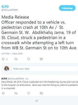 Tweet from St. Cloud Police Dept. on March 1, 2018