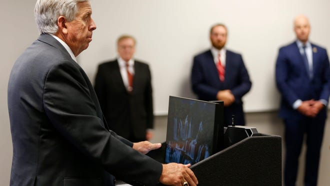 Missouri Gov. Mike Parson speaks at the Springfield Regional Police and Fire Training Center before signing SB600 into law, which addressed violent crime, on Friday.