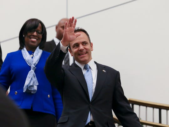 Gov. Matt Bevin did not choose Lt. Gov. Jenean Hampton, left, as his running mate in his reelection bid.