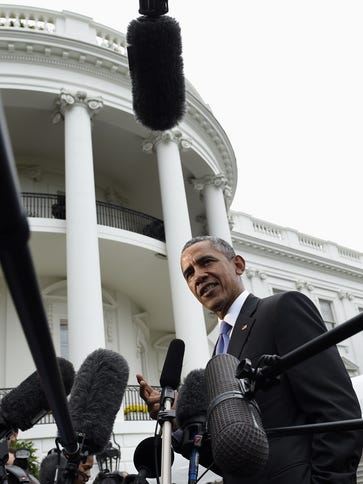 President Barack Obama speaks to reporters on the South