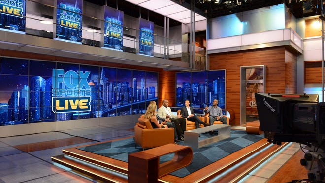 Aug 8, 2013; Los Angeles, CA, USA;  General view of the set of the new FOX SPORTS 1 network. The new sports network is scheduled to begin live starting August 17, 2013. Mandatory Credit: Jayne Kamin-Oncea-USA TODAY Sports  ORG XMIT: USATSI-129994 ORIG FILE ID:  20130809_jel_aj4_074.jpg