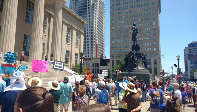 About 125 people gathered Saturday at Metro Hall for Louisville's #MarchForTruth. June 3, 2017