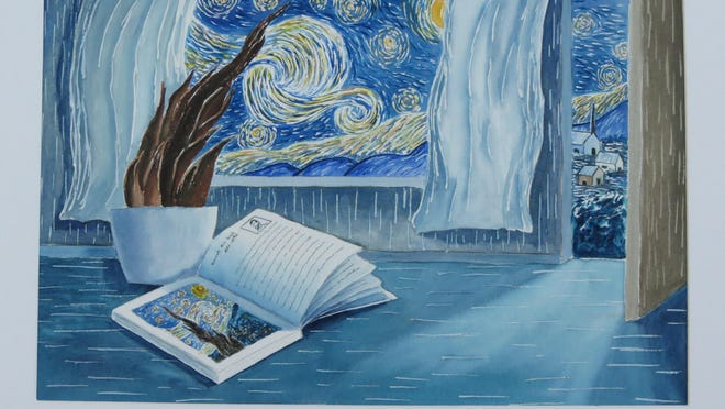 """Arts Association of Montana's Sandy Walker puts her own spin on """"Starry Night."""" Her work is on display at Electric City Coffee for First Friday."""