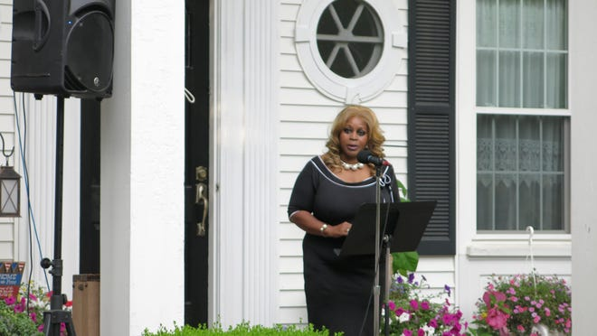 Linda Lee Tarver, former member of the Michigan Civil Rights Commission, speaks Wednesday at the Liberty Rally in Blissfield after reading the Declaration of Independence.
