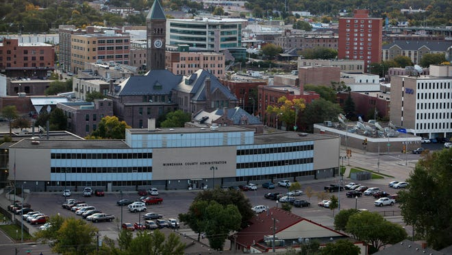 A view of downtown Sioux Falls from the north spire of the St. Joseph Cathedral on Wed., Sept. 30, 2015.