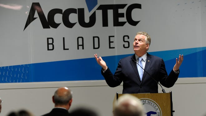Virginia Governor, Terry McAuliffe makes his  economic development announcement at Accutec Blades, Inc on Friday, Feb. 26, 2016.