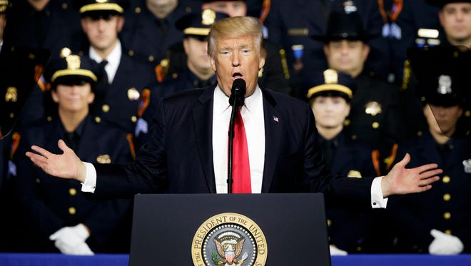 President Trump discusses anti-gang efforts at Suffolk Community College in Brentwood, N.Y., on Friday, July 28, 2017.