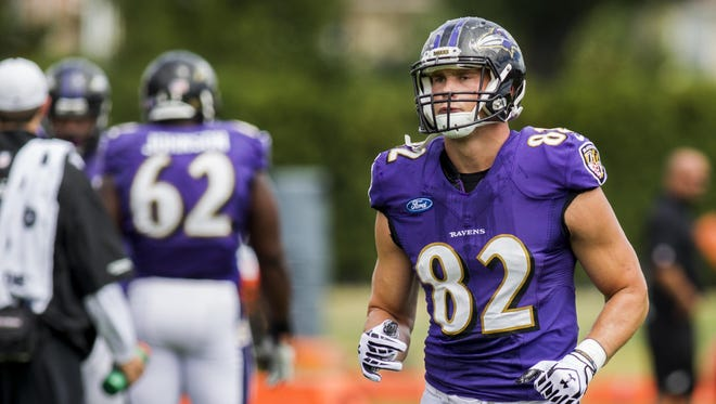 Baltimore Ravens tight end Nick Boyle jogs across the field during a joint practice with the Philadelphia Eagles in Philadelphia in 2015.