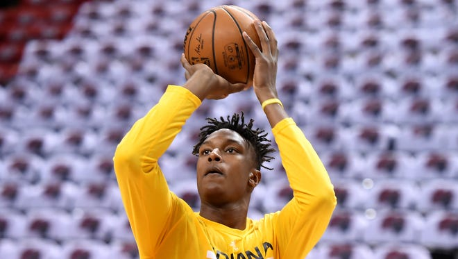May 1, 2016; Toronto, Ontario, CAN; Indiana Pacers forward Myles Turner (33) takes a jump shot in practice before playing Toronto Raptors in game seven of the first round of the 2016 NBA Playoffs at Air Canada Centre. Mandatory Credit: Dan Hamilton-USA TODAY Sports