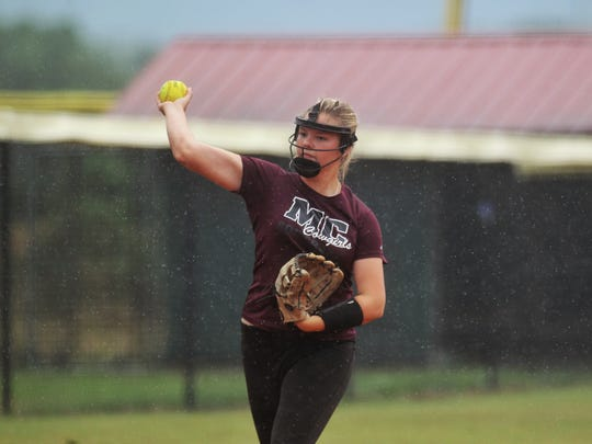 Madison County third baseman Abi Annett practices in