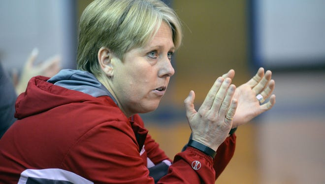 Haughton's head coach Jenifer Pesnell cheers on her ladies form the bench as they tae on Southwood in their District 1-5A matchup January 13.