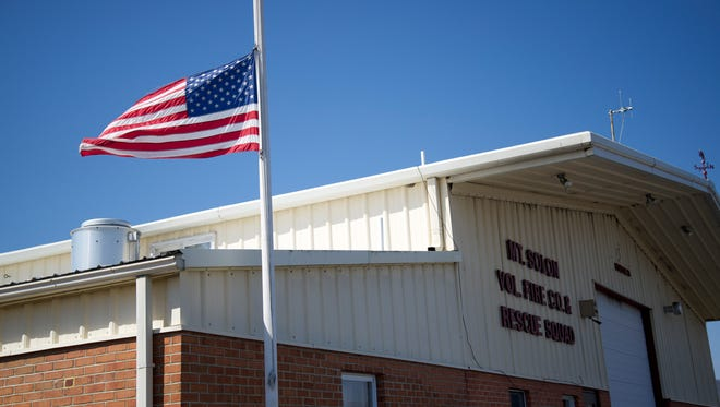 The flag at Mount Solon Volunteer Fire and Rescue Squad was at half mast on Monday, March 23, 2015 in observance of Delbert Jones' death.