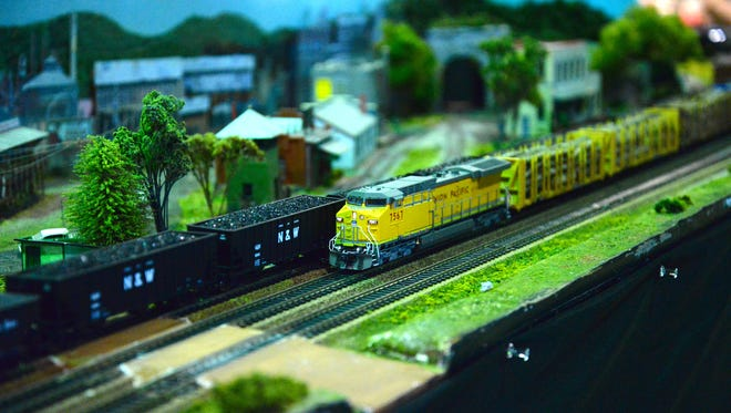 Two model trains side-by-side at the Shenandoah Valley Model Train and Railroading Show, which brought nearly 1,000 visitors to Fishersville on Sunday, May 3, 2015.