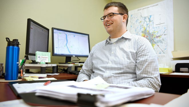 Joseph Mueller, multimodal planner and geographic information science specialist talks Tuesday Nov. 3 about his job for the  St. Cloud Area Planning Organization.