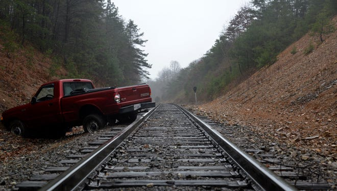 A truck drove off an embankment on Va. 42 Sunday afternoon landing on the train tracks outside of Craigsville.
