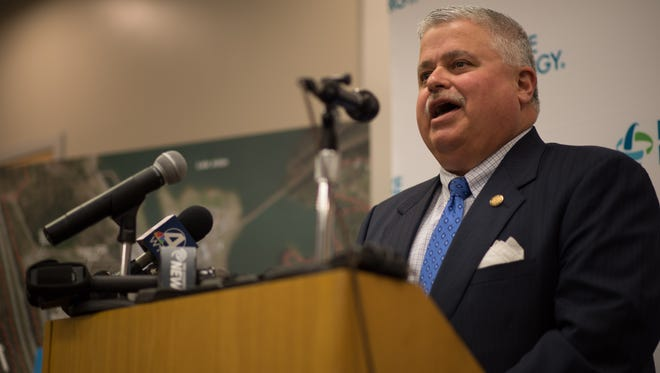 State Sen. Tom Apodaca, R-Henderson, speaks at a May press conference at which Duke Energy announced plans to revamp its Skyland generating plant.