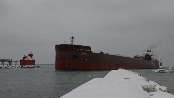 The Mesabi Miner enters the Sturgeon Bay Shipping Canal Thursday afternoon.