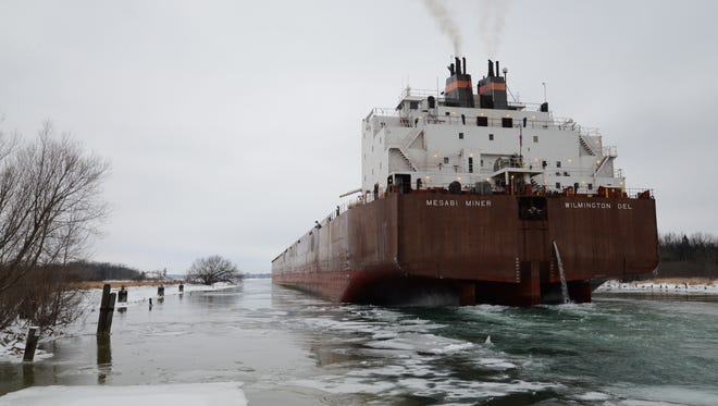 The Mesabi Miner heads up the Sturgeon Bay Shipping Canal on Thursday on its way to winter maintenance at Bay Shipbuilding Co. A U.S. Coast Guard ice breaker was on Green Bay this week keeping shipping lanes open for the last ships of the season.