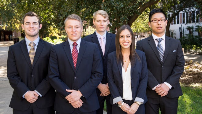The FSU student consulting team: Christopher Holzworth, Chris Mergenthaler, C.J. Wagner, Katie Wallshein, and Zhiqiang Shu.