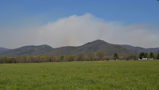 The ridge outside of Grottoes where the Rocky Mountain fire is still burning in the Shenandoah National Park.
