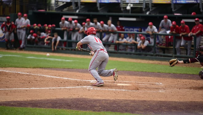 UL's Joe Robbins bunts Friday against Texas State in the Sun Belt Tournament in San Marcos, Texas.