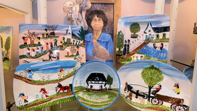 You'll find tableware featuring the art of Clementine Hunter at Chinaberry's in Bossier City.