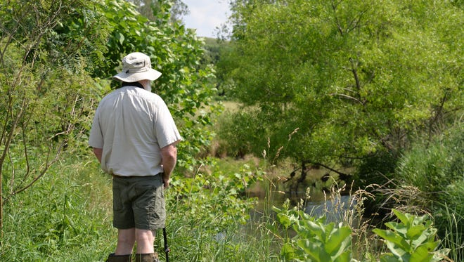 A visitor looks at the Middle River on Jeanne Hoffman's farm in Swoope. Bobby Whitescarver invited guests in 2016 for a tour to show his different methods of conservation.