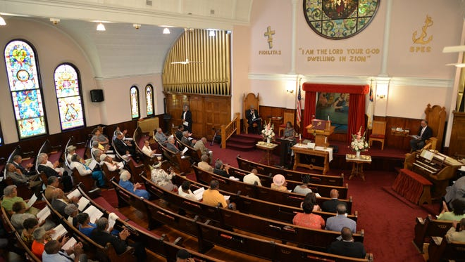 The congregation of Mount Zion Baptist Church in Staunton on Sunday, Aug. 28, 2016 celebrating its 150th anniversary.