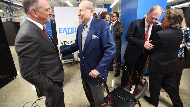 Governor John Bel Edwards chats with Mandel Selber the original owner of the Selber Brother's building which now houses Venyu, one of Shreveport's latest economic development projects.