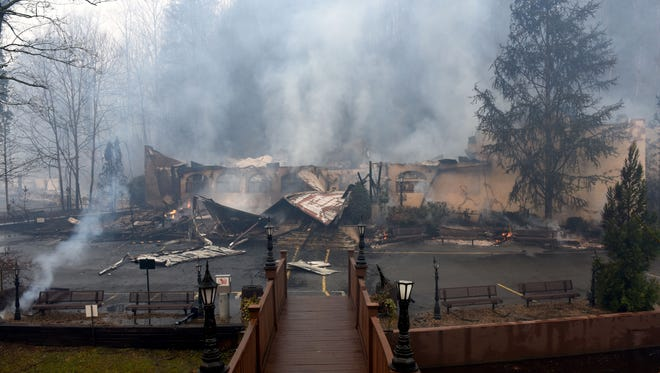 The Alamo Steakhouse was lost to out of control wild fires  in Gatlinburg causing a mandatory evacuation Tuesday, Nov. 29, 2016.