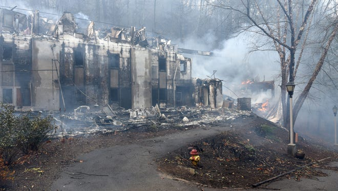 Two of the dormitories at Arrowmont School was lost to the out of control wild fires in Gatlinburg causing a mandatory evacuation Tuesday, Nov. 29, 2016.