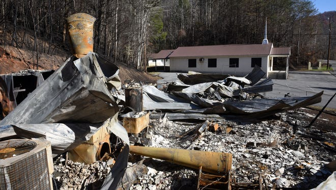 Banner Baptist Church was saved while their fellowship hall burned to the ground Monday in Gatlinburg.