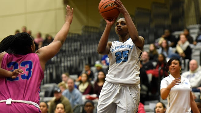 Immaculate Conception's Breyenne Bellerand shooting during a game earlier this year.