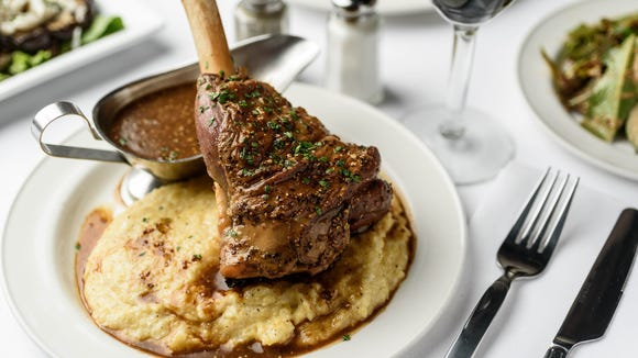 The braised lamb shank is one of the options you'll find at Rock 'N' Bowl's full-service restaurant.