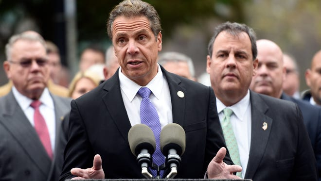 New York Gov. Andrew Cuomo speaking at a news conference in Hoboken with Gov. Chris Christie in 2016.